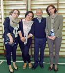 with teachers Magdalena Cieslik and Violetta Tarnowska, and headmaster Katarzyna Hampel