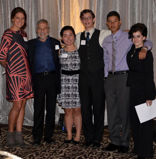 with teacher Allison Hancock and student speakers Danielle Kim, Michael Kimball, Jeremiah Moreno and Peny Rhines