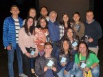 "with Colombian students and teachers - Back row: Alejandro, Dana, Pablo; middle row: Laura, Luna, Laura, Sara, Cesar, Ricardo Estupian; front row: Juan, Julianna, ""Mafe"" Maria Fernanda Buena"